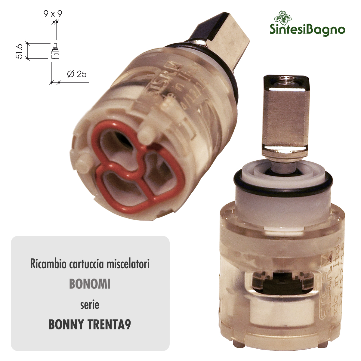 Cartuccia ceramica BONOMI Ø mm 25 per rubinetterie serie BONNY TRENTA9