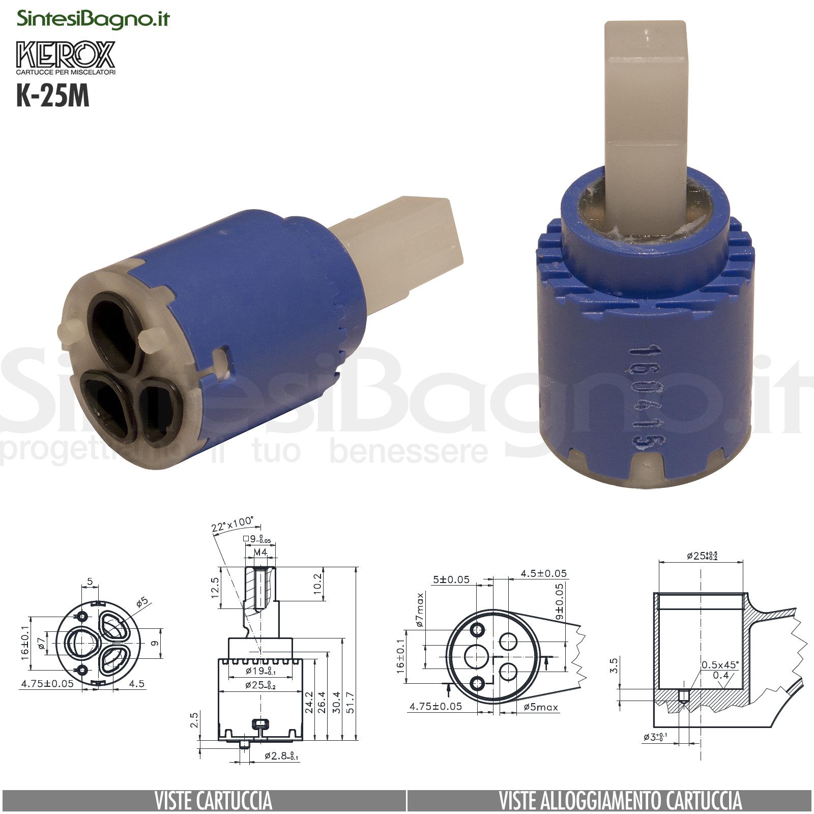 KEROX K 25 M | Cartuccia KEROX K-25M di ricambio per miscelatore monocomando Ø 25 mm