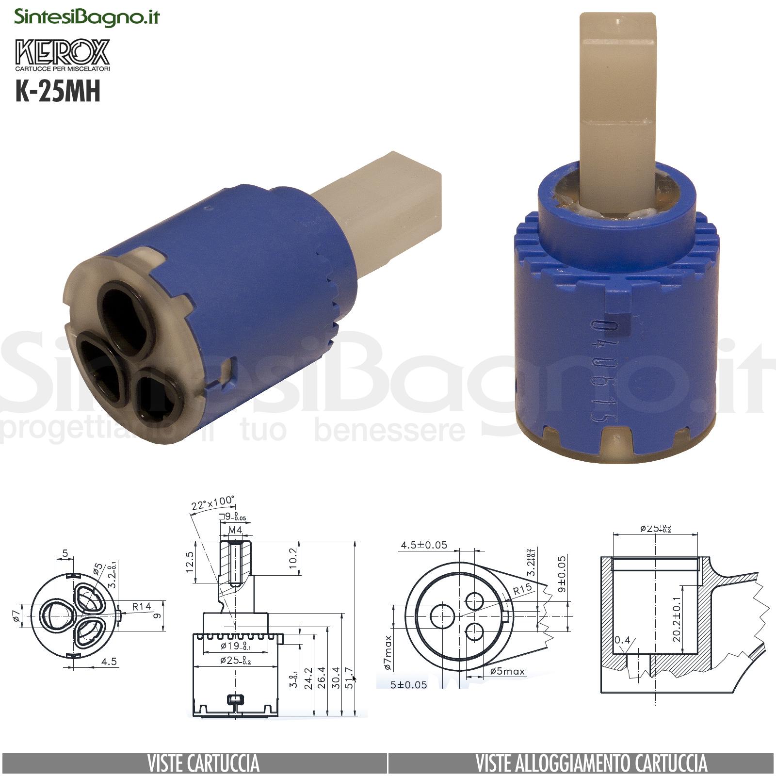 KEROX K 25 MH | Cartuccia KEROX K-25MH di ricambio per miscelatore monocomando Ø 25 mm