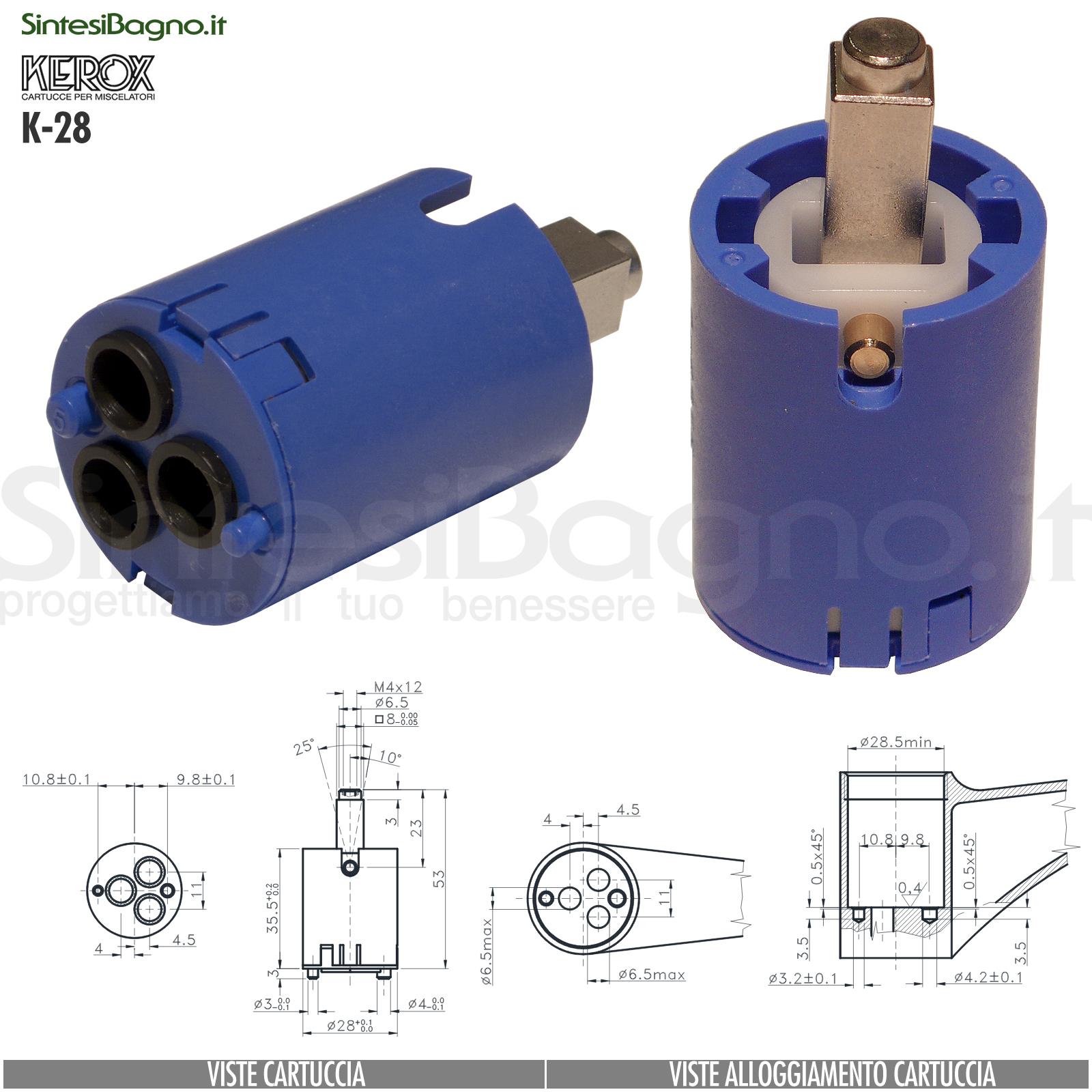 KEROX K 28 | Cartuccia KEROX K-28 di ricambio per miscelatore monocomando Ø 28 mm