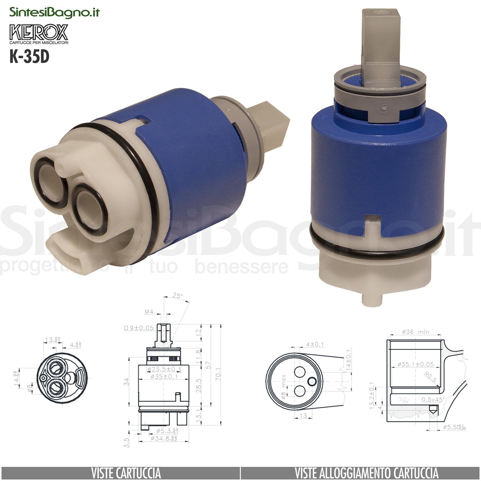 KEROX K 35 D | Cartuccia KEROX K-35D di ricambio per miscelatore monocomando Ø 35 mm