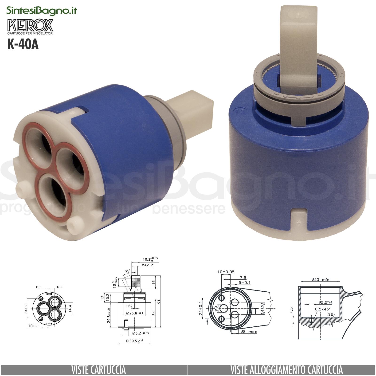 KEROX K 40 A | Cartuccia KEROX K-40A di ricambio per miscelatore monocomando Ø 40 mm