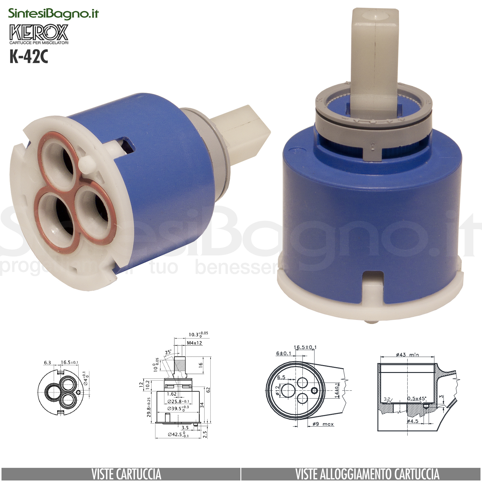 KEROX K 42 C | Cartuccia KEROX K-42C di ricambio per miscelatore monocomando Ø 42 mm
