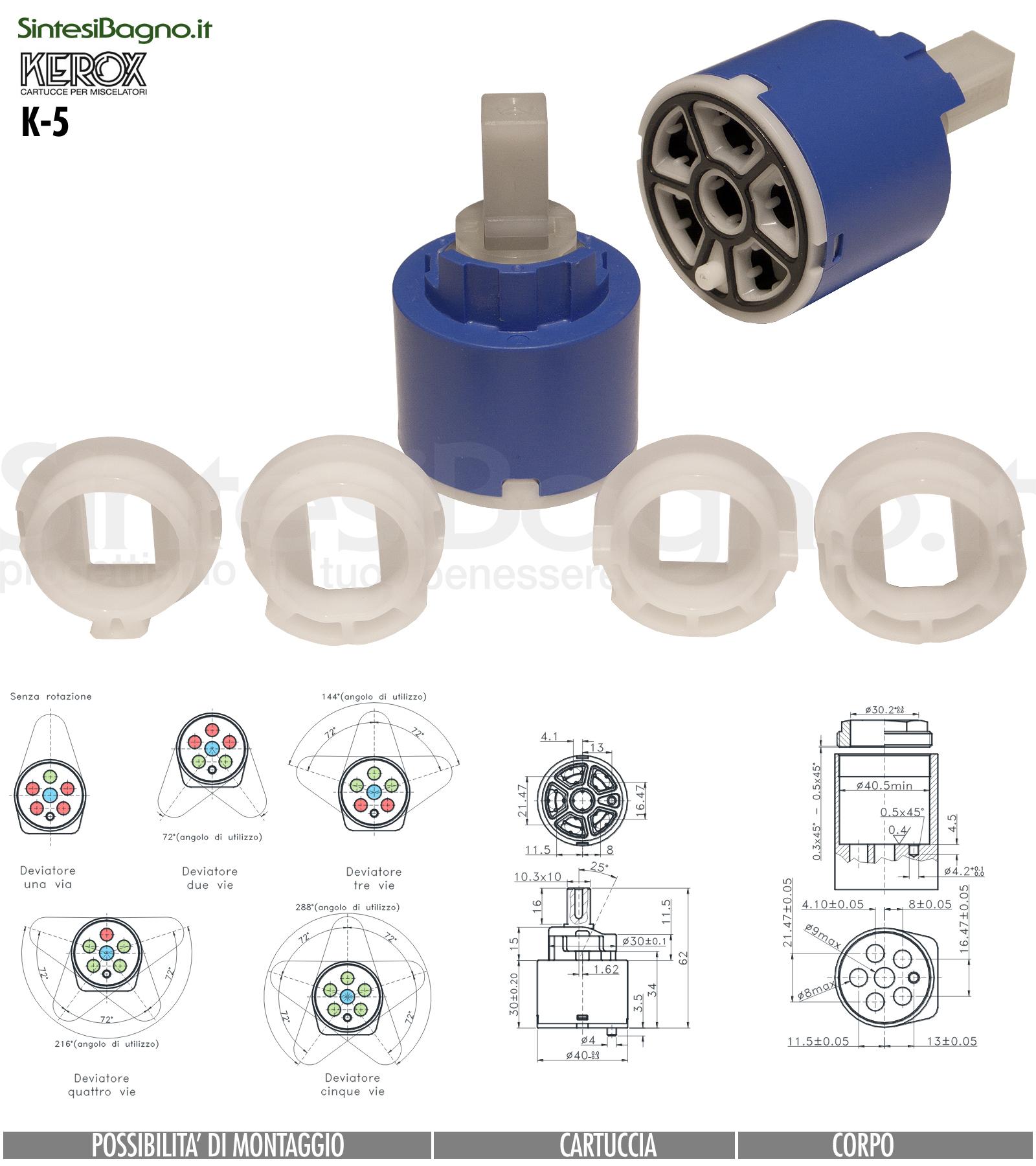 KEROX K 5VC | Cartuccia DEVIATRICE/DEVIATORE a 5 vie con chiusura KEROX K-5VC | Ø 40 mm
